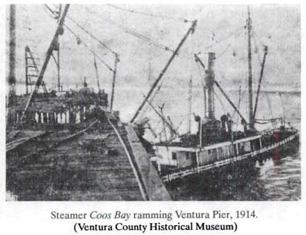 SS Coos Bay Cutting the Ventura Wharf in Half