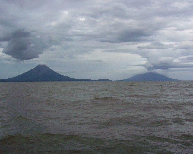 What a beautiful view of the two volcanos from the boat!