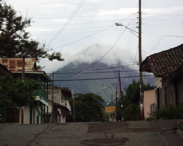 Clouds often shroud the peak of the volcano Concepción.