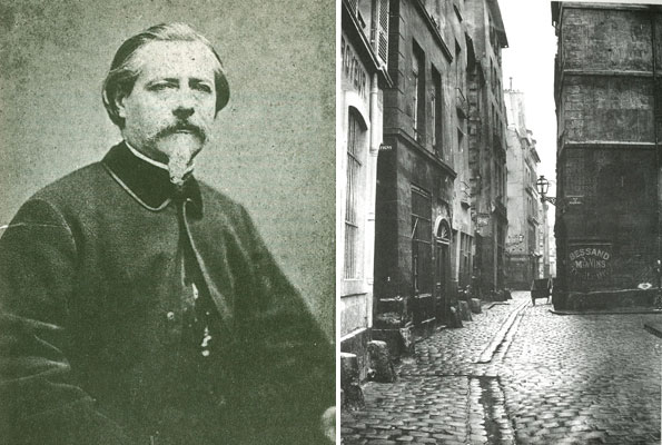 "A potrait of Charles Marville (left), and one of the famed works of Marville, which was intentionally ""made-up"" to appear as if the alleyway was infested and inundated with sewer."