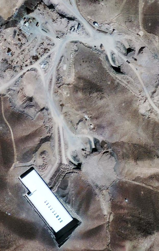 The satellite photo, taken by GeoEye, shows a nuclear enrichment facility at a military site about 20 miles north-northeast of Qum, and 100 miles southwest of Tehran, Iran.