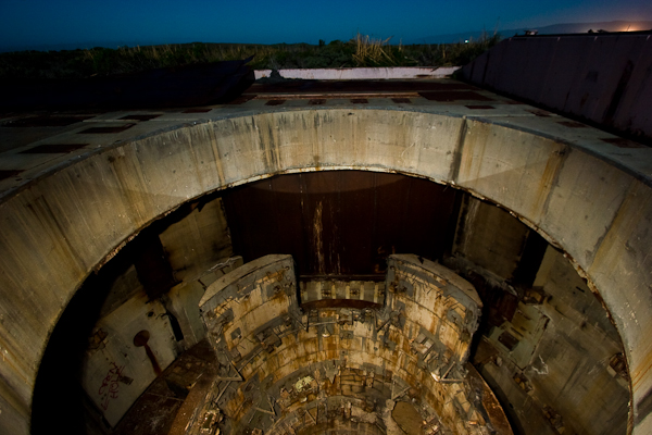 The Titan II silo from above - fully exposed to the sky, and illuminated by a combination of the moon and a handheld flashlight.