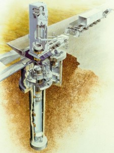 A schematic of a peacekeeper missile being loaded into its launch tube {click for a larger view}.