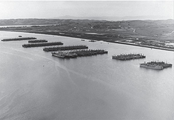 This image - generously provided through the exhaustive research of Amy, and courtesy of MARAD - shows the Naval Defense Reserve Fleet (NDRF) in the 1950s, when 400 ships were moored along the shores of Suisun Bay.